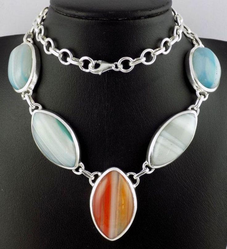 "Beautiful Natural Sardonyx Gemstone 925 Sterling Silver 18"" Handmade Necklace #Unbranded"