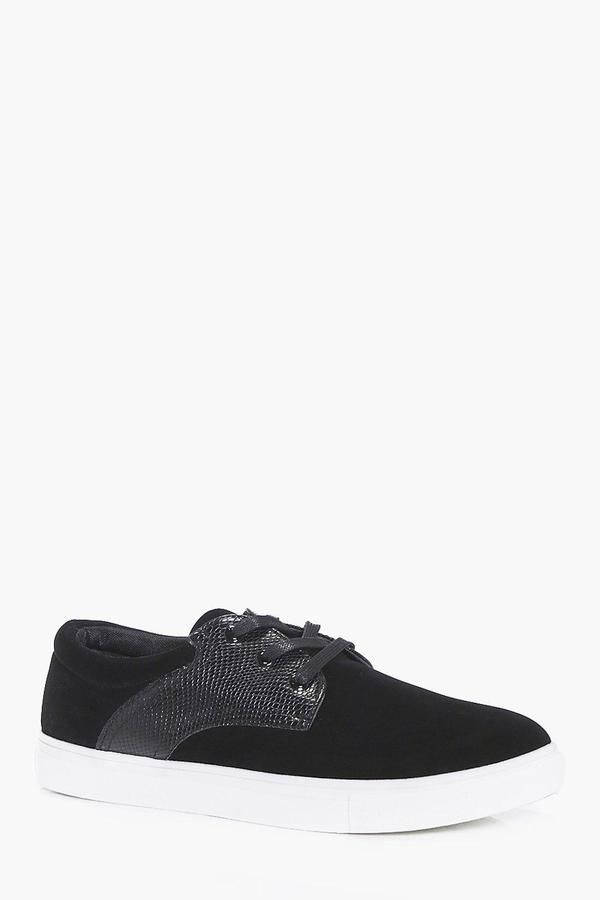 boohoo Suedette Lace Up Plimsoll