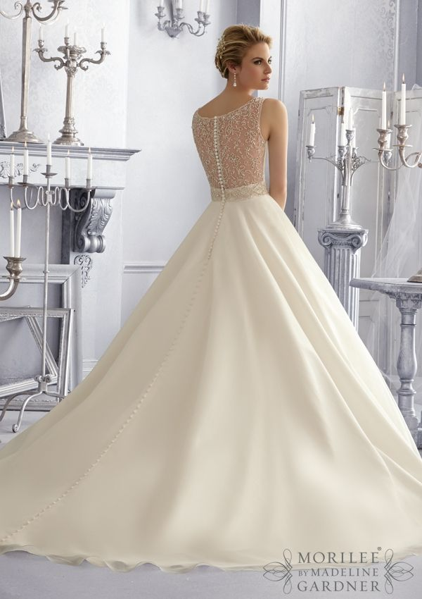 Bridal Gown From Mori Lee By Madeline Gardner Dress Style 2679 Crystal Beaded Embroidery on a Silky Organza Wedding Gown