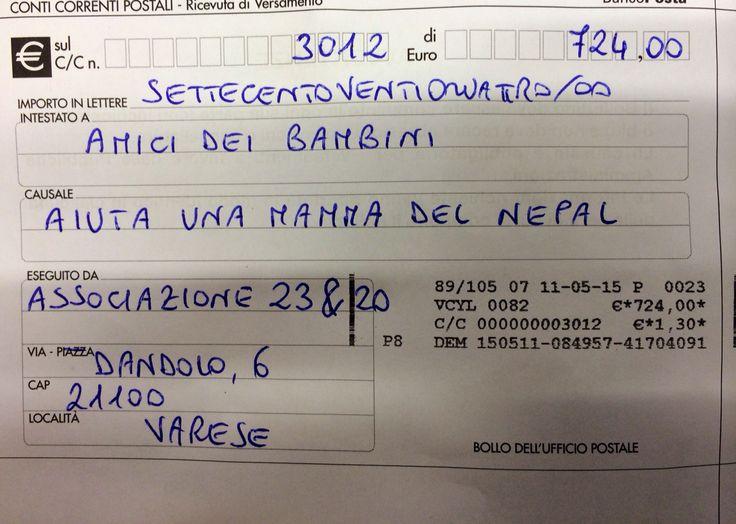 """La nostra donazione ad """"amici dei bambini"""" per il progetto """"aiuta una mamma del Nepal"""". Grazie a tutti per la generosità dimostrata nella nostra raccolta fondi!"""
