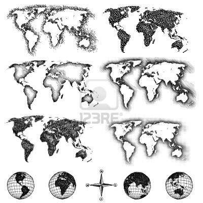different ways of shading the world map