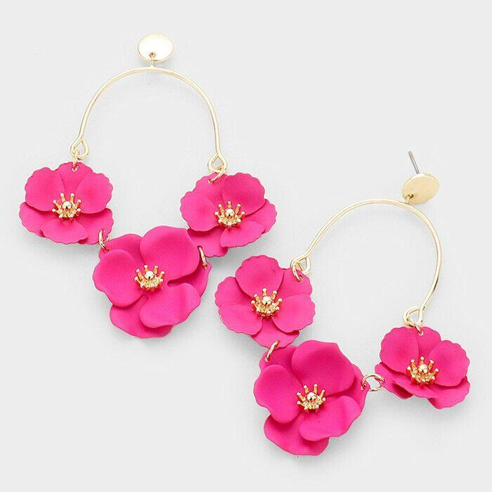 Designer Inspired Triple Fuchsia Gold Metal Bloom Flower Dangle Earrings Unbranded Dropdangle In 2020 Gold Earrings Dangle Unique Earrings Tassel Drop Earrings