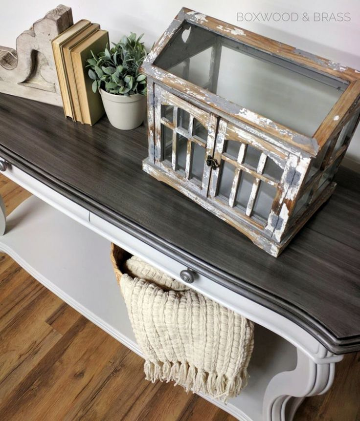 Seagull Gray and Pitch Black Sofa Table | General Finishes Design Center