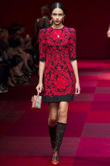 red Dolce & Gabbana Milan Fashion Week Ready To Wear 2015 dresses (1)