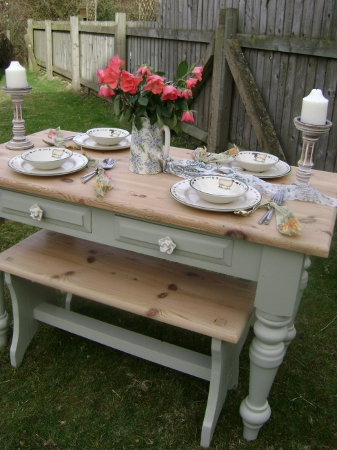 Farmhouse Pine Dining Set painted in Farrow & Ball 'French Gray'