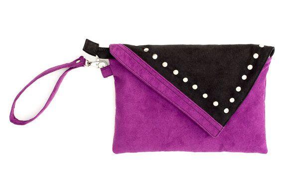 Studded wristlet bag made of violet and black alcantara. Handmade by Anardeko