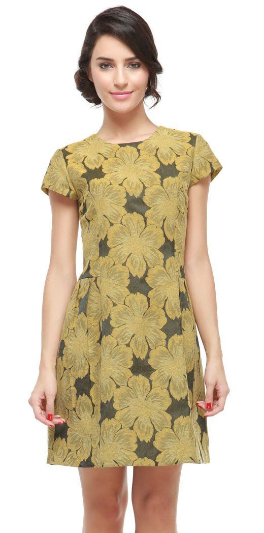 Get a modern party look with this Floral Dress, available in bright rose and holiday gold colors. Pair it up with your favorite heels shoes for the best look. http://www.zocko.com/z/JJ3C6