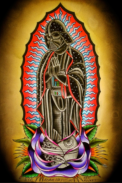 VADER OF GUADALUPE by Adam Hays http://www.losttexan.us This is very similar to a tattoo I have, but this guy does some amazing Star Wars tattoos. He also works at a shop a block away from where I work in NYC.