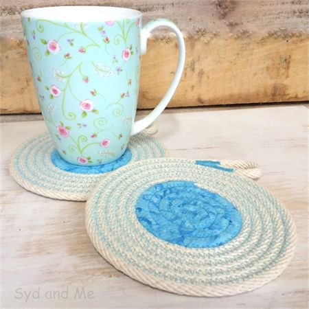 Rainbow Coasters - set of 2 Natural rope & pretty blue hand created by Syd and Me. www.facebook.com/SydAndMe