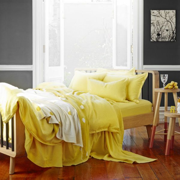 Pure Linen Quilt Cover Set In Maize from Sheets on the Line