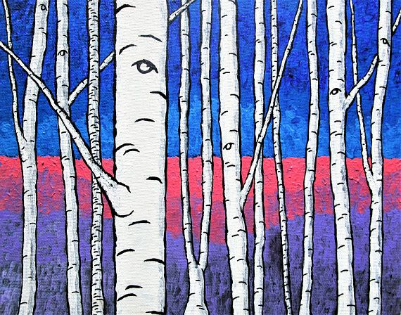 Brightscapes: The Way To Beauty  The Birch Forest https://www.etsy.com/listing/535452263/the-birch-forest-original-acrylic  Birch trees have always been a meditative source for me. Growing up, there was one outside my window that I would look at while daydreaming. And, when I needed to get away from the world I went to a grove of Birch trees to find refuge. I've always found the unique and nearly useless white tree interesting.  My work on view at:  @Bausch Rochester Optics Center…