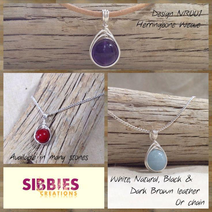 Herringbone Weave silver filled wire wrap necklace, 8mm to 10mm gemstone bead, by SibbiesCreations on Etsy https://www.etsy.com/listing/216627642/herringbone-weave-silver-filled-wire