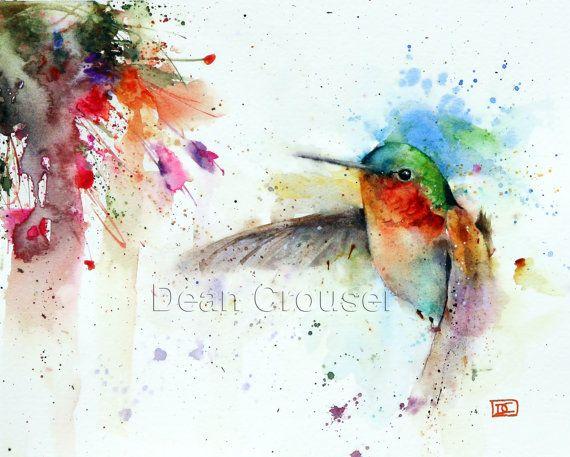 HUMMINGBIRD & fucsia imprimir acuarela por Dean por DeanCrouserArt