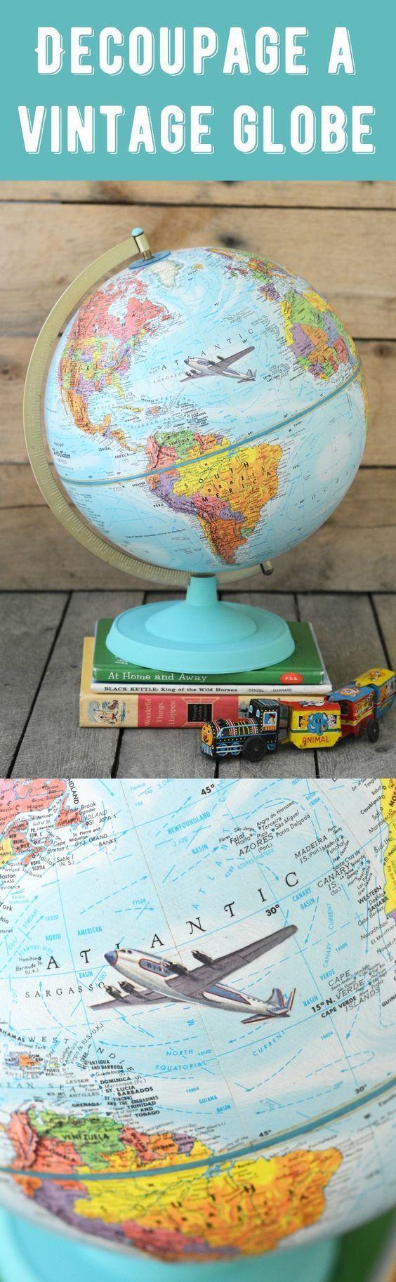 Decoupaged chalky vintage globe 52 best Maps