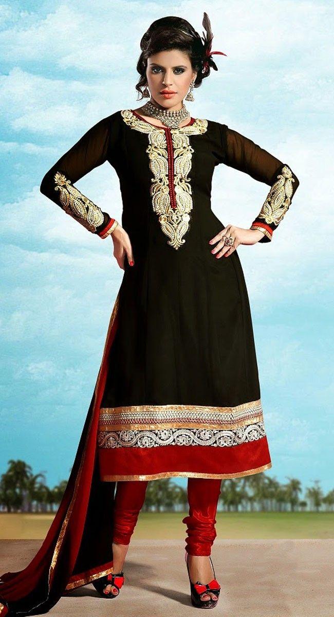 Black and Red color Partywear salwar kameez-Georgette Salwar Kameez