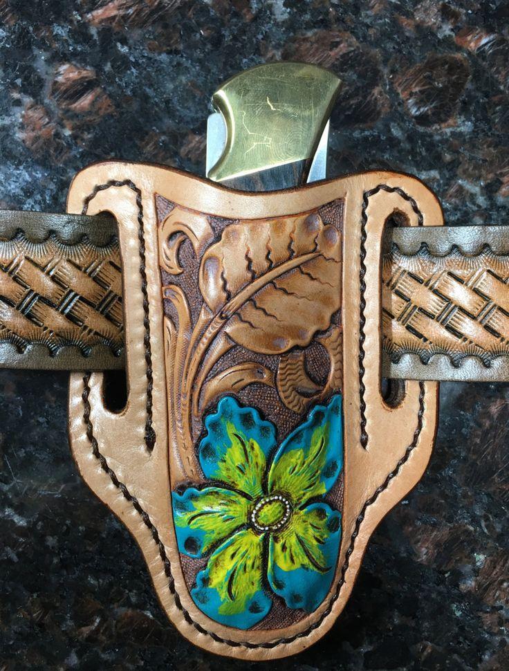 Buck Knife 110 Sheath / Pocket Knife Belt Sheath / Pancake Knife Sheath / by sobleather on Etsy
