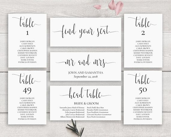 Best Printable Wedding Invitations And Stationery Images On - Wedding invitation templates: seating chart template wedding