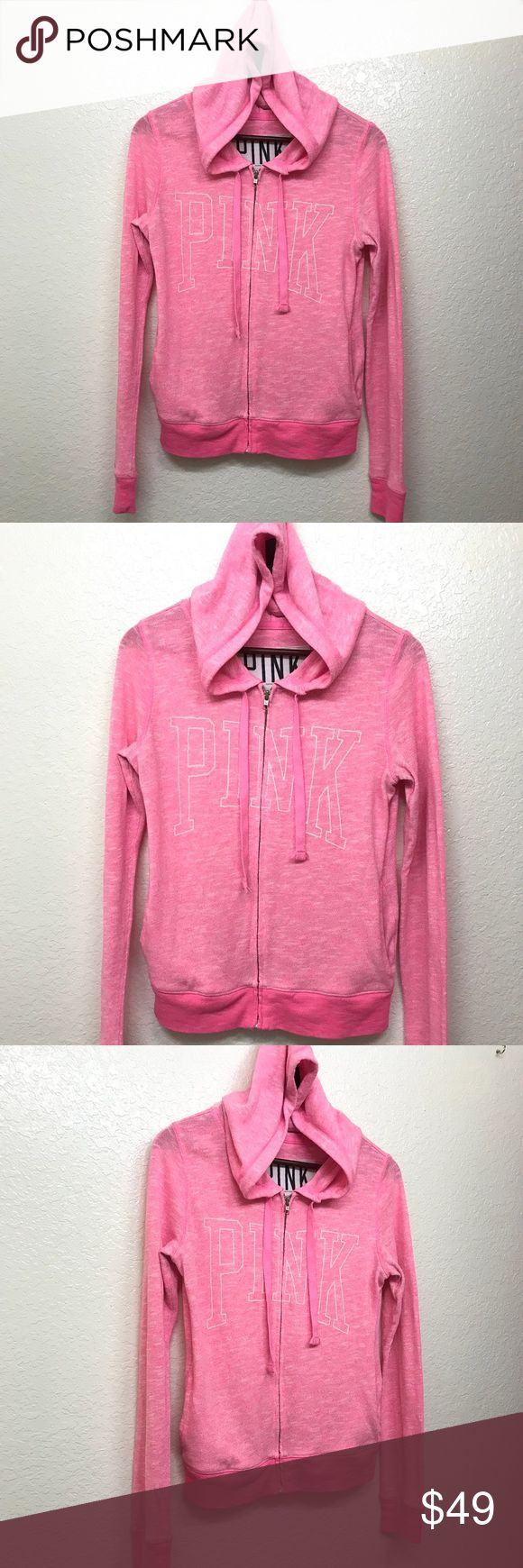 "Victoria Secret Pink Zip Up Hoodie Size XS Pink Victoria Secret Pink Zip Up Hoodie Size XS Pink Excellent Condition  Measurements are Approximate  Bust: 19"" Length: 24"" PINK Victoria's Secret Sweaters"