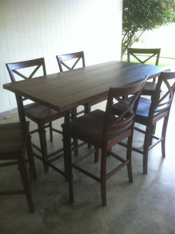 Industrial Pipe Leg Dining Table Counter Height