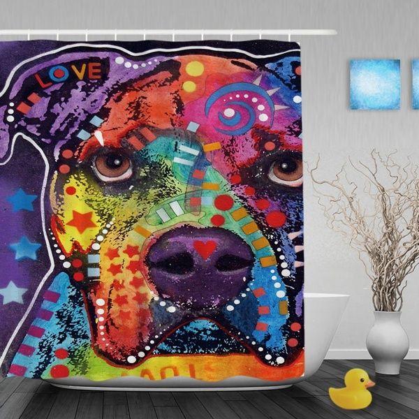 Love Pitbull Shower Curtain Durable High Quality Polyster Bathroom Shower Curtain With Hook Animal Decor Bathroom