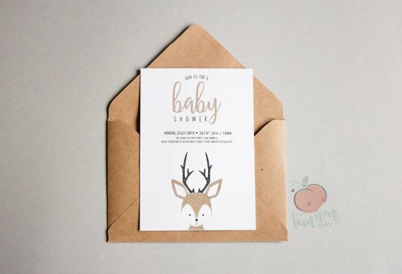 Cerf Baby Shower Invitation livre carte et par OhHappyDayPaperCo