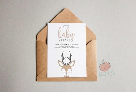 Cerf Baby Shower Invitation livre carte et par OhHappyDayPaperCo