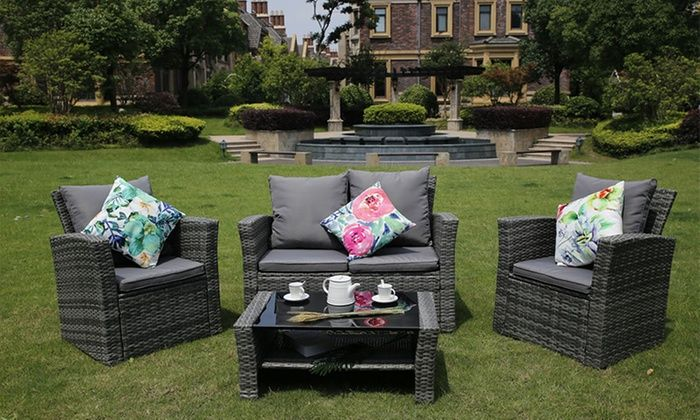 Yakoe Four Seater Sofa Set With Free Delivery Garden Sofa Set Garden Sofa Sofa Set
