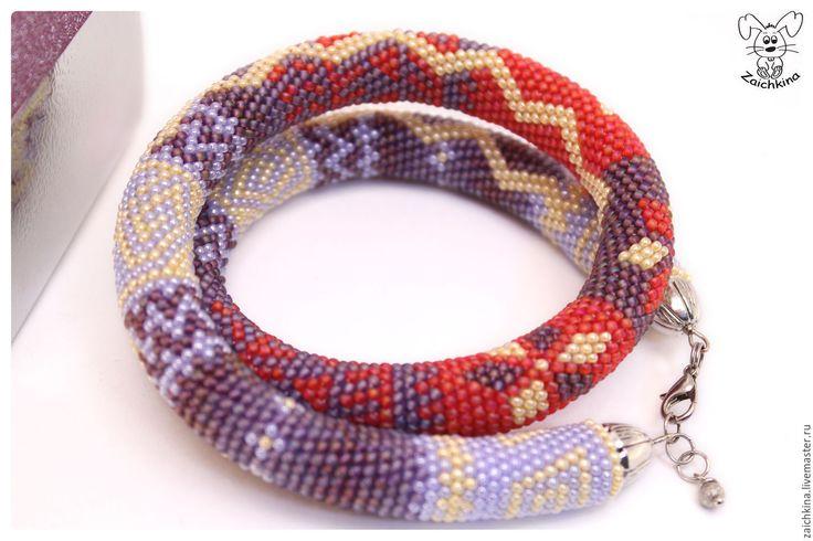 Купить Жгут из японского бисера - разноцветный, фиолетовый, сиреневый, красный, желтый, голубой, жгут из бисера
