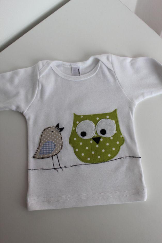 Langarmshirts - Baby/Kinderlangarmshirt Vogel&Eule auf der ... - ein Designerstück von milla-louise bei DaWanda
