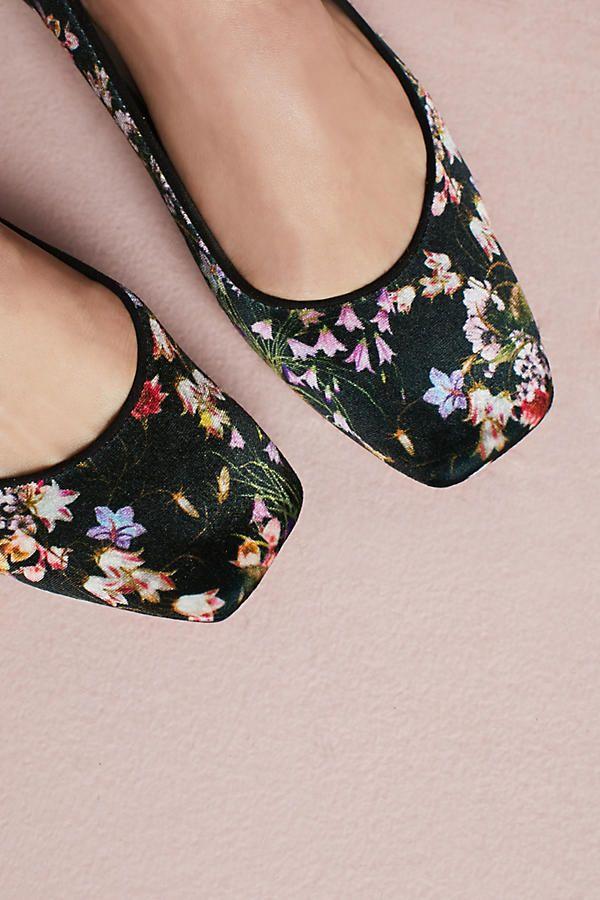 Slide View: 4: Bisue Ballerinas Square-Toe Floral Ballet Flats