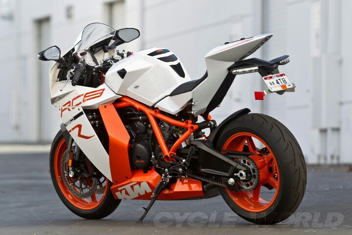 2012 KTM RC8R. 1195cc LC8 Engine. KTM has been renowned for their off-road machines, primarily dirt bikes but now they are in the chase for a Litre bike title against other well known Euro bike makers Ducati and Aprilia.