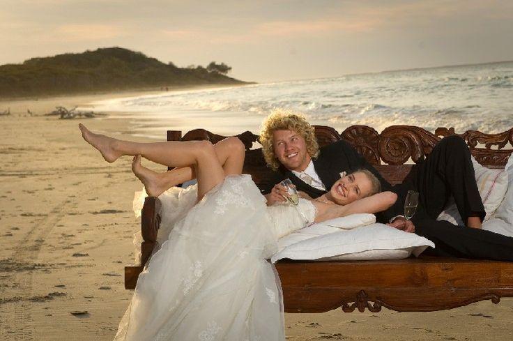 Beach wedding, daybed on sand. Stradbroke Island Photography - North Stradbroke Island - Wedding Gallery