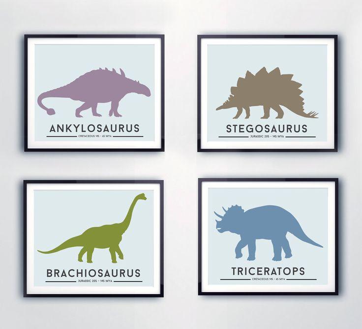 Toddlers room decor, DINOSAUR prints, boys wall art. Set of 4, Dinosaur, Jurassic prints, nursery decor, kids rooms, playrooms by LittleGrippersStore on Etsy https://www.etsy.com/listing/259087528/toddlers-room-decor-dinosaur-prints-boys