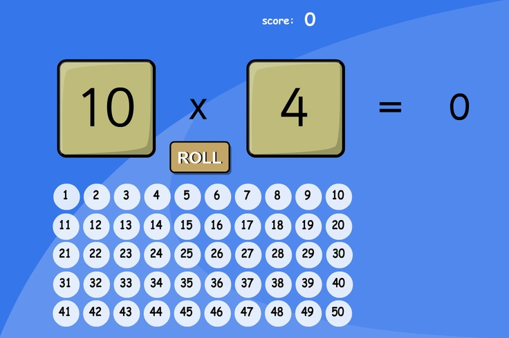 Dice Roll: A quick fire multiplication game for tables up to 5. Pupils roll two dice and multiply the given numbers. The game can be set to free play or with a time limit for more fun. Answers up to 50.