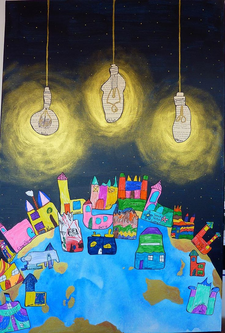 Class Canvas - Book Week 2015 - Each student did a drawing of a building (or light globe). Inspired by this image: http://www.bigkidsmagazine.com/blog/2013/12/peace-and-love.html and the work of Hundertwasser. Year 2