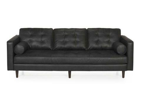 Canapé 3 places fixe Moma en cuir design vintage prix promo Alinea 1 405.00 € TTC.