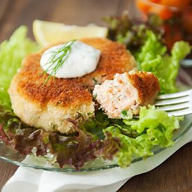 Seared fresh salmon cakes (wild Coho salmon).