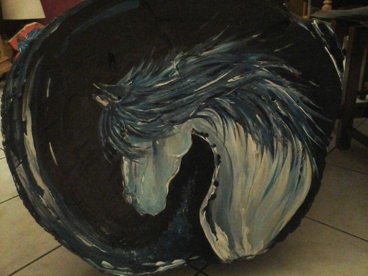 Cheval bleu en acrylique