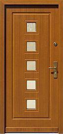 Drzwi zewnętrzne drewniane wzór 682 w kolorze złoty dąb