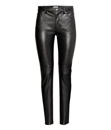 Black. 5-pocket, slim-fit pants in stretch imitation leather. Regular waist and zip fly with button. $19.99