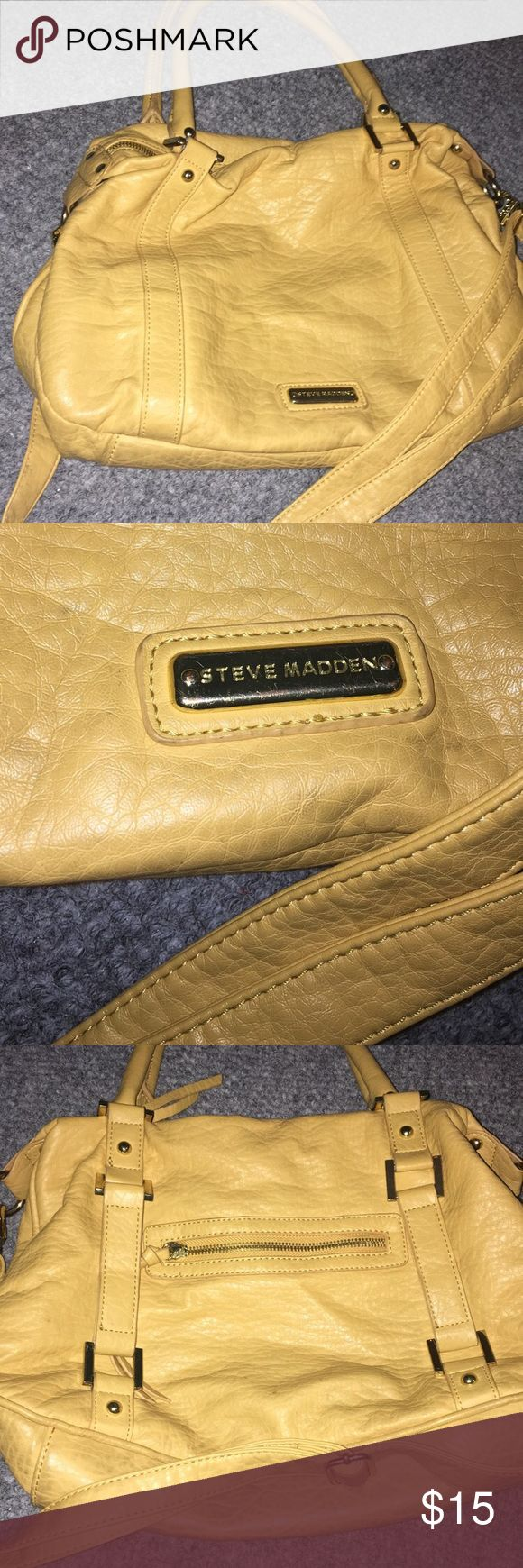 Steve Madden Purse Steve Madden Mustard Yellow Purse • Good Condition - has an ink spot stain inside that is displayed in the pictures • Gold Detailing Steve Madden Bags Crossbody Bags
