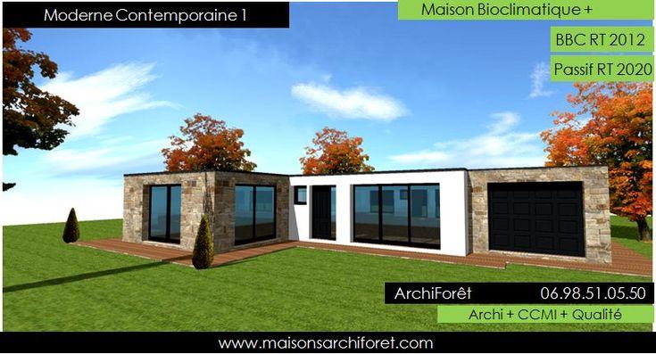 Plan et photo maison plain pied en L ou plein pied en rez de chaussee rdc par votre architecte constructeur ossature bois | www.maisonsarchi...