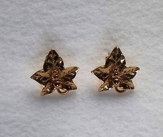 Vintage Avon Jewelry Maple Leaf Gold Pierced Earrings