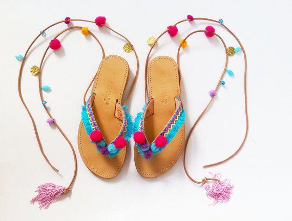 Atar sandalias Boho | Pom Pom sandalias