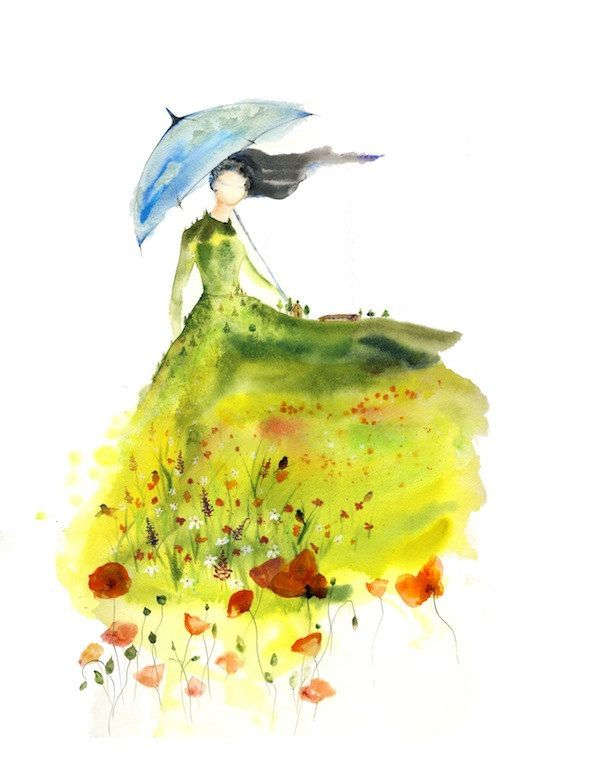 Lady of the Glade - Art Print blue umbrella girl spirit woman bedroom wall red poppies farm green watercolor landscape Oladesign 8x10. $25.00, via Etsy.