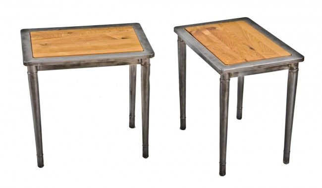 Industrial Wood And Metal Nightstand: Two Matching Original Refinished American Industrial
