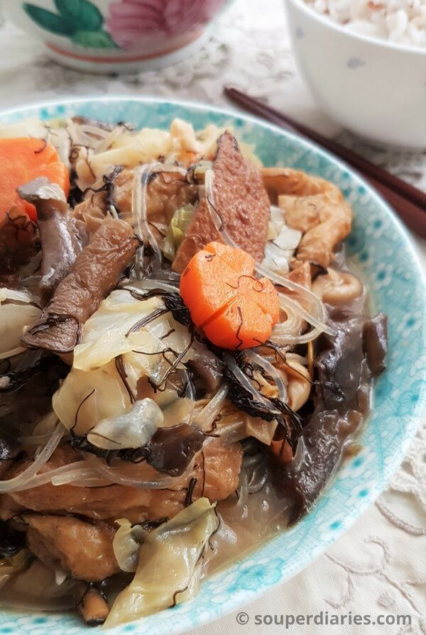 Lo Han Chai (Buddha's Delight) is a vegetarian dish traditionally eaten on the 1st day of Chinese New Year.
