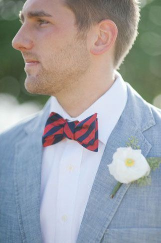 REVEL: Chambray BlazerGrooms Groomsmen, Groomsmen Boutonnieres, Inspiration, Boutonnier Grooms, Red Stripes Wedding, Red White, Blue Rwb, Boutonnieres Grooms, Grooms Fashion