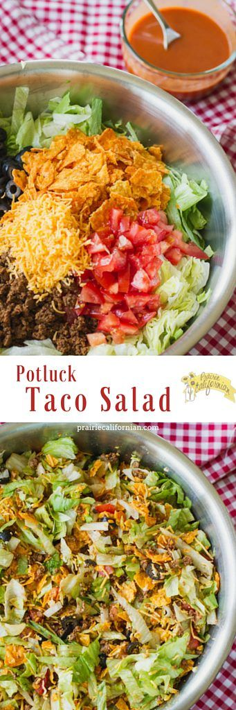My version of this popular Dorito Taco Salad, perfect for potlucks, family picnics, or other large events.  http://prairiecalifornian.com/potluck-taco-salad/