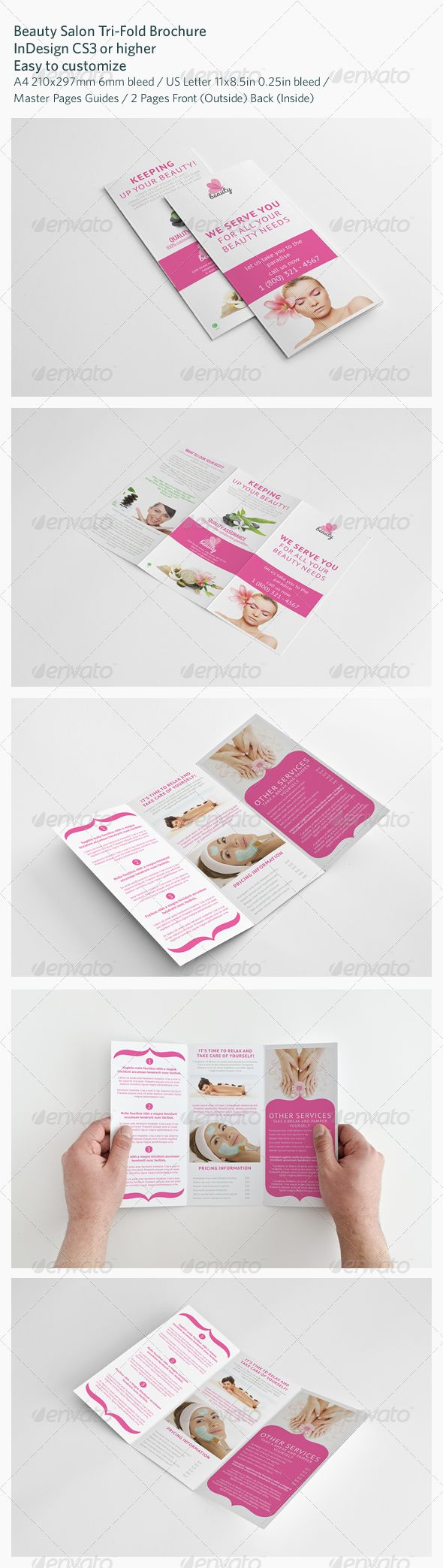 Beauty Salon Tri-Fold Brochure a4, beauty, body, brochure, care, clean, company, customizable, elegant, folding, idea, indd, indesign, information, letter, logo, modern, nail, pedicure, presentation, print ready, professional, relax, retail, salon, service, simple, spa, template, threefold, Beauty Salon Tri-Fold Brochure